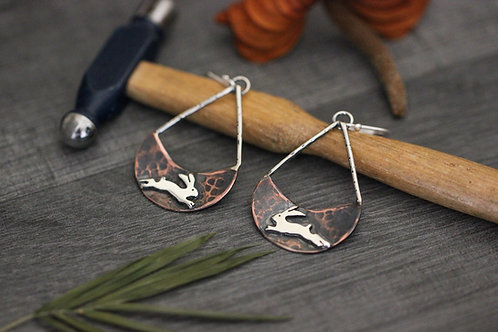 Jumping Hare Earrings - Copper and Sterling Silver