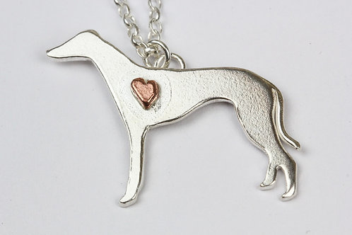 Lurcher / Greyhound Sterling Silver necklace with copper heart
