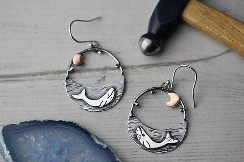 Sterling silver and copper whale earrings