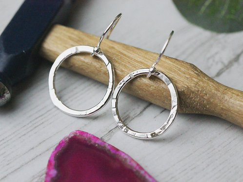 Organic hammered sterling silver circle earrings
