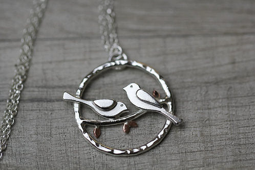 Two birds sterling silver necklace