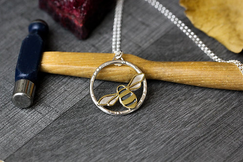 Sterling silver and Brass bee pendant