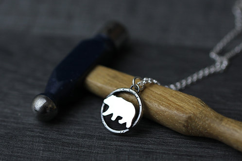 Small sterling silver bear necklace