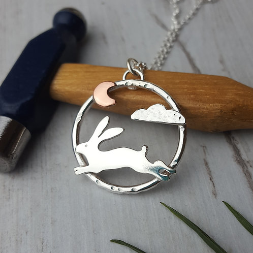 Sterling silver jumping hare and moon necklace