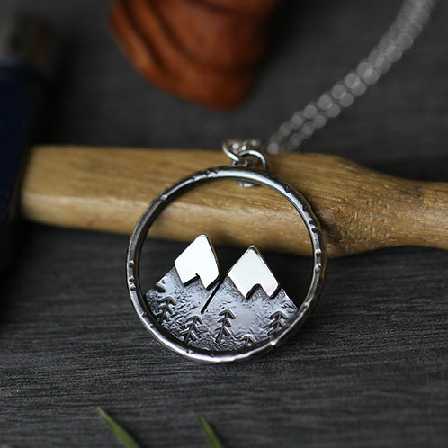 Twin peak sterling silver necklace