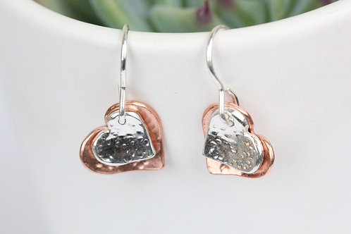 Two heart earrings - Sterling silver and copper