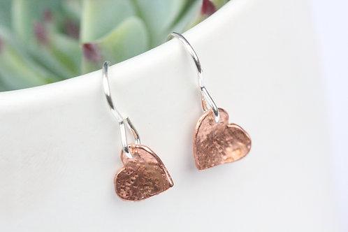 Copper textured love heart earrings