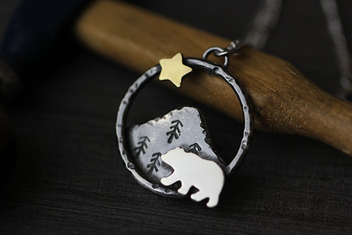 Sterling Silver Bear Necklace with Brass Star