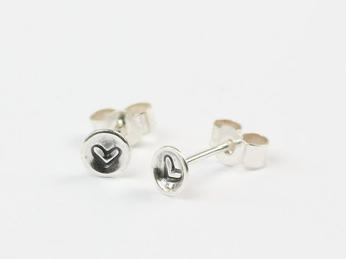 Tiny sterling silver heart stud earrings