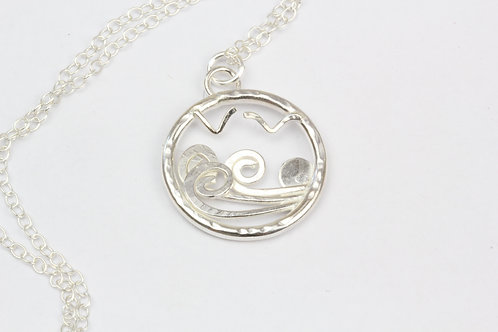 Sterling Silver ocean waves necklace