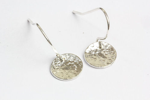 Sterling Silver Hammered Earrings - Polished