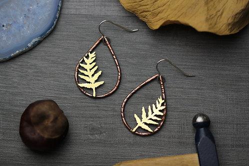 Brass Fern Earrings on Copper Teardrops