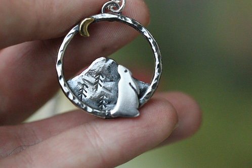 Moon Gazing Hare Necklace