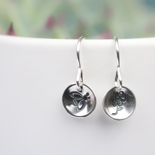 Sterling silver bee and flower earrings