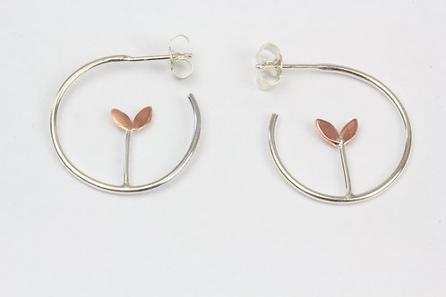 Sprouting Plant Hoop Earrings