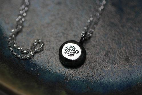 Sterling silver pebble necklace - Sea Turtle design