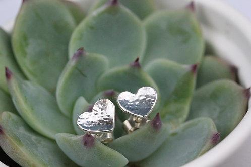 Sterling silver love heart stud earrings