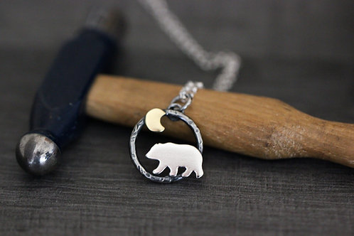 Mini Bear and Moon Necklace -Sterling silver and brass