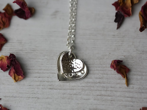 Sterling silver 2 heart necklace