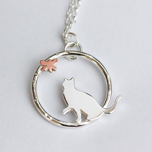 Cat and butterfly necklace - Sterling silver and copper