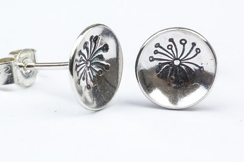 Dandelion Sterling Silver Stud Earrings