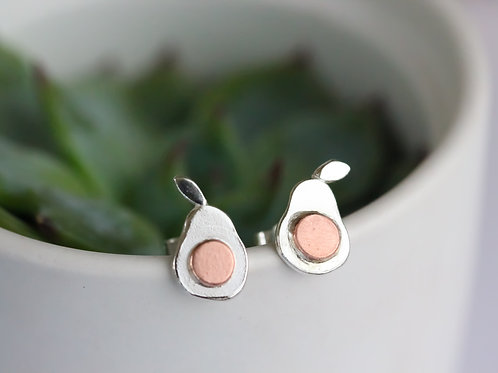 Sterling silver and copper avocado earrings