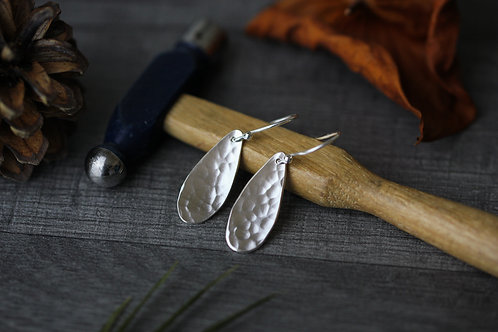Hammered Sterling Silver Teardrop Dangle Earrings