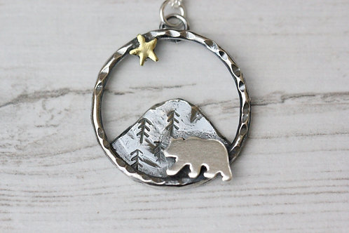 Bear and star Necklace
