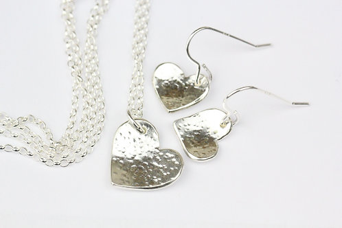 Sweetheart sterling silver necklace and earrings gift set