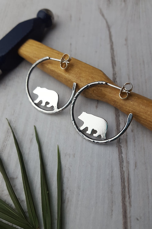 Sterling silver Bear hoop earrings