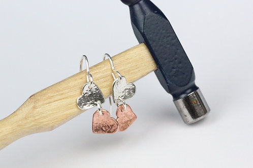 Sterling silver and copper multiple heart earrings