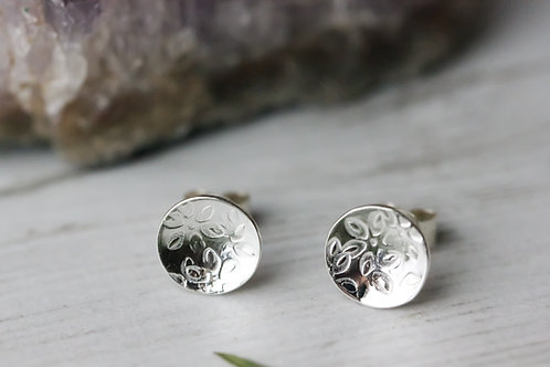 Flower petal stamped sterling silver stud earrings