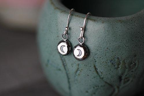 Sterling silver pebble earrings -  Drop or Stud - Moon design