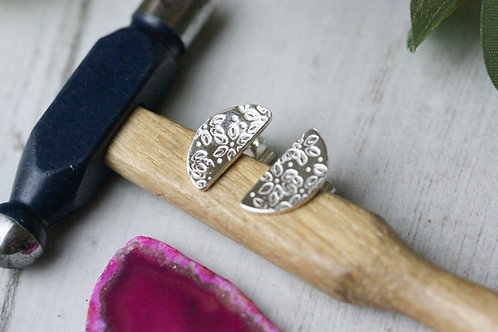 Semi circle sterling silver stud earrings - flower petal design