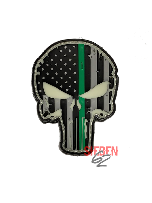 """""""GREEN LINE PUNISHER"""" Glow In The Dark Rubber-Patch"""