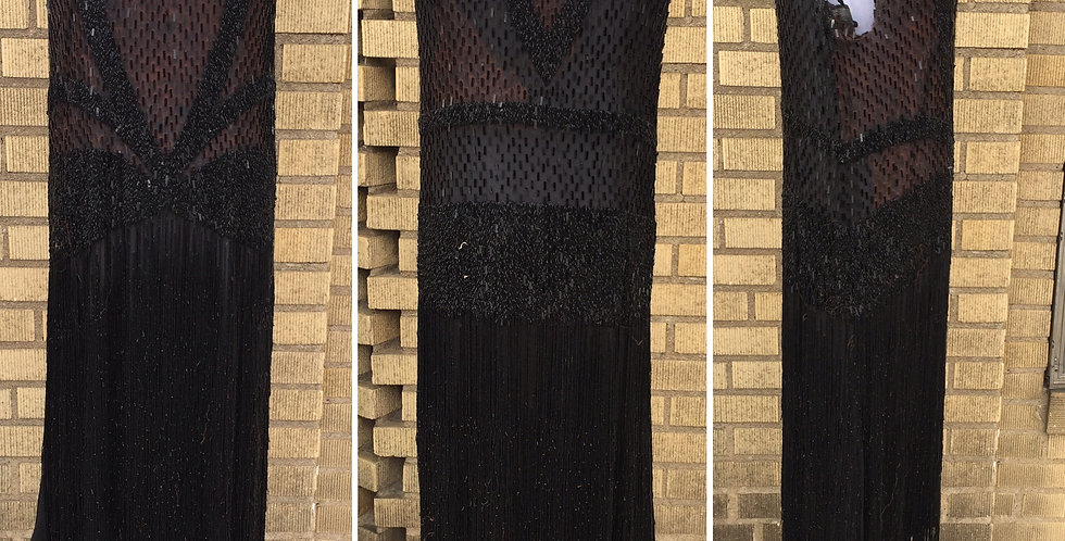RARE 20s Flapper Dress Black Silk Chiffon Beaded Sequin Fringe S/XS