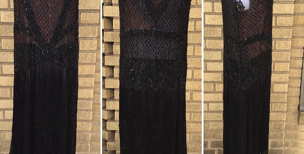 RARE 20s Flapper Dress Black Silk Chiffon Beaded Sequin Fringe S/XS