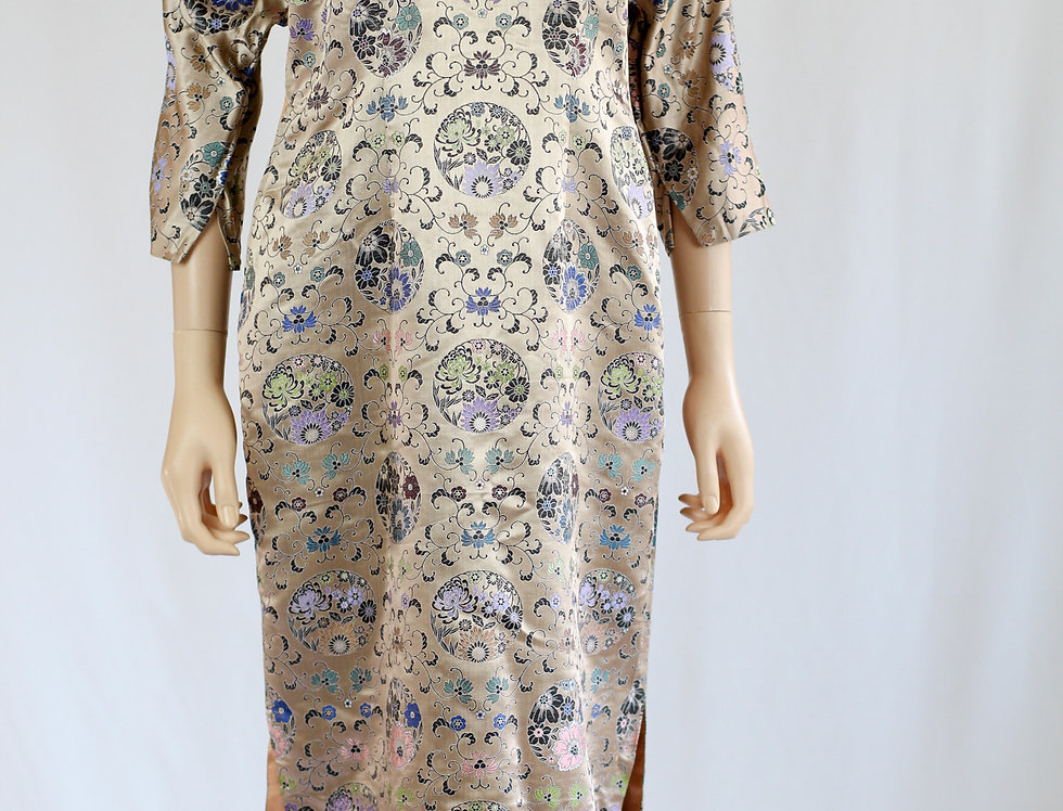 Vintage 60s Chinese Dress Embroidered Silk Brocade S/M