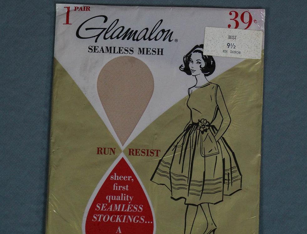 Vintage Glamalon Seamless Mesh 50s Stockings