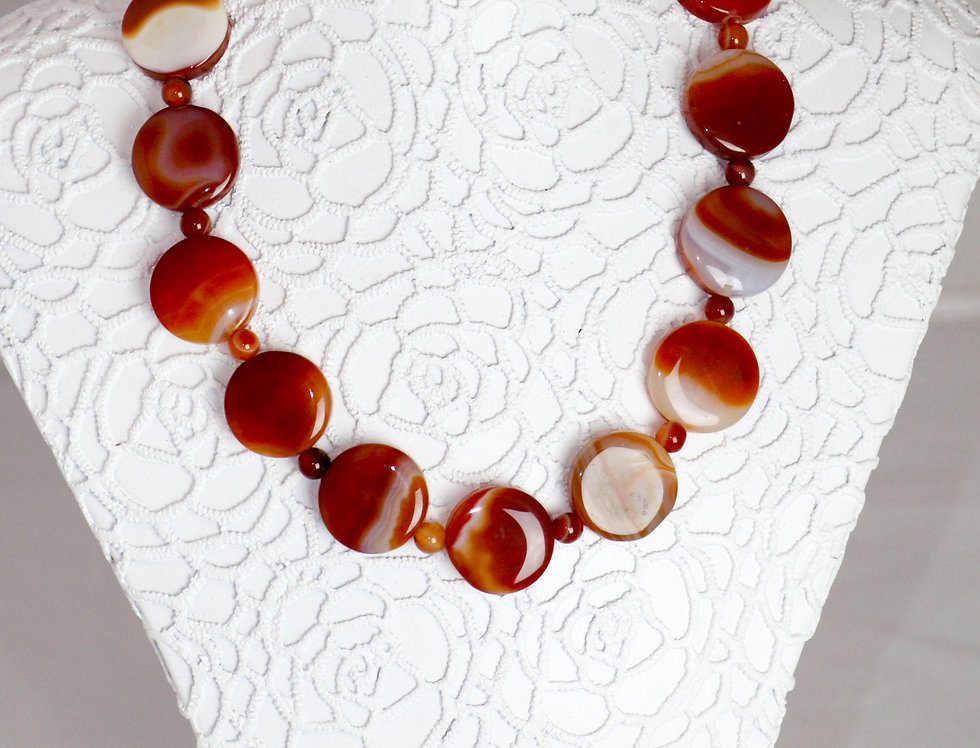 Vintage Banded Carnelian Necklace Round Flat Beads Choker Magnet Clasp