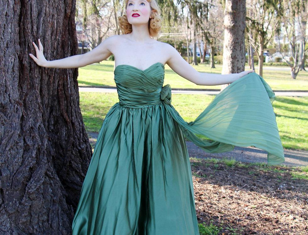 Vintage 1950s Green Satin Prom Evening Dress Full Length S