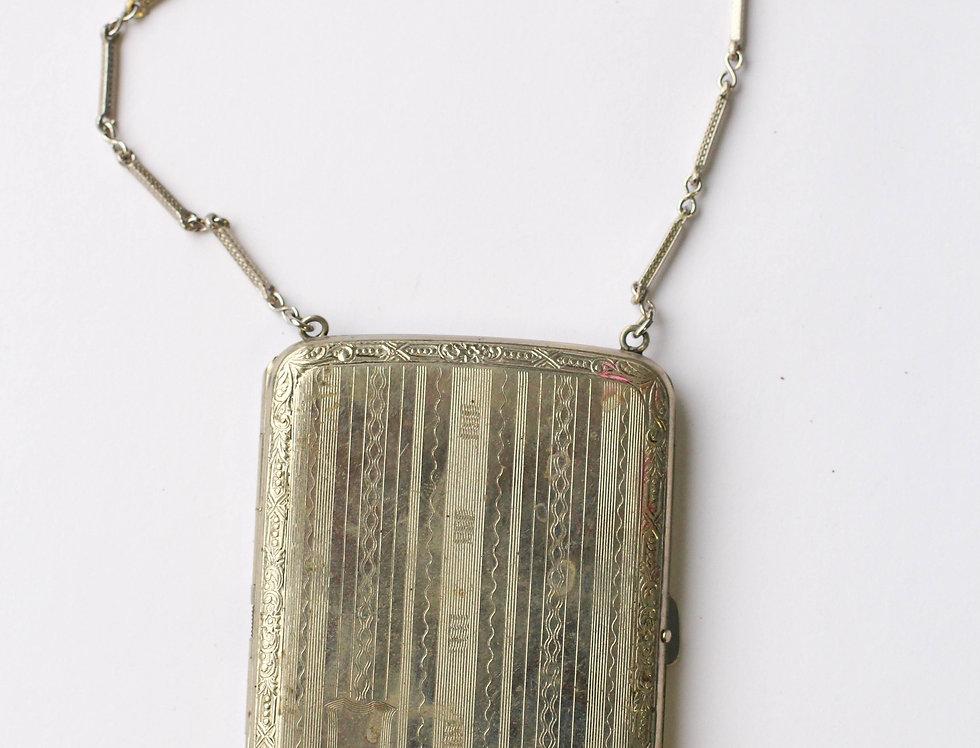 1920s Compact Purse Etched Silver Tone EGM Co