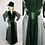 Thumbnail: Antique Victorian Walking Day Dress Grey with Green Velvet XS