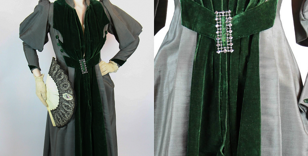 Antique Victorian Walking Day Dress Grey with Green Velvet XS