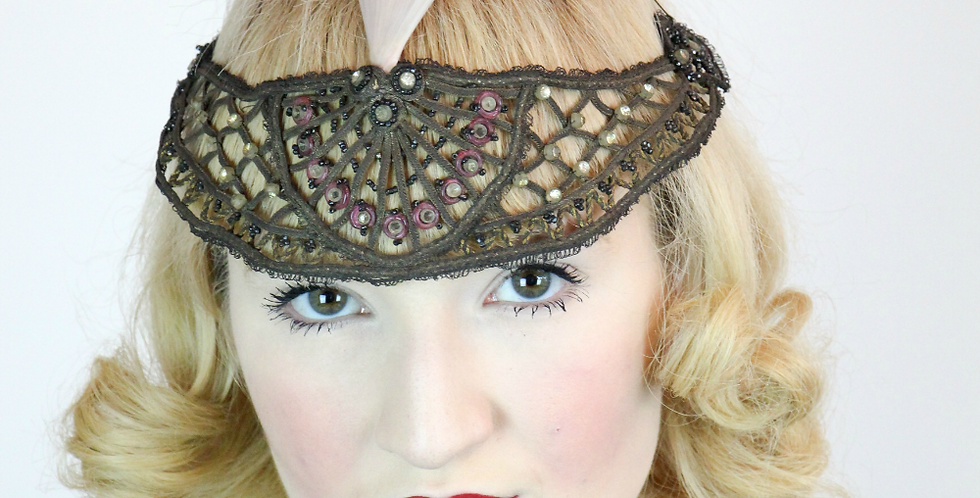 RARE Vintage Antique 1918- 1920s Beaded Headband Hairpiece
