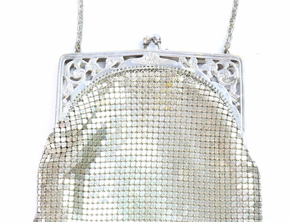 20s Whiting and Davis Silver Tone Mesh Purse