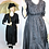 Thumbnail: Edwardian WWI Walking Dress Black Satin