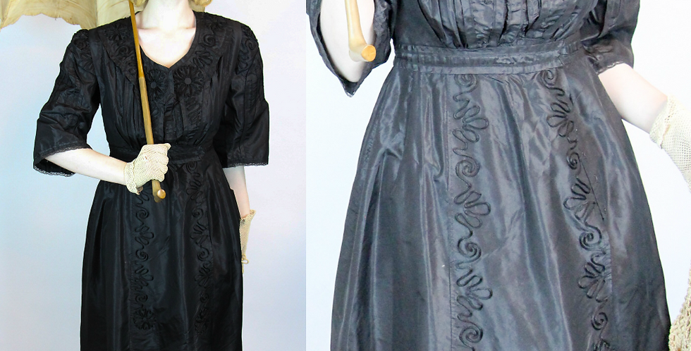 Edwardian WWI Walking Dress Black Satin