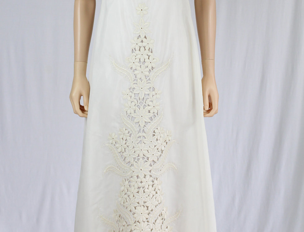 70s Wedding Dress Regency Style Embroidered