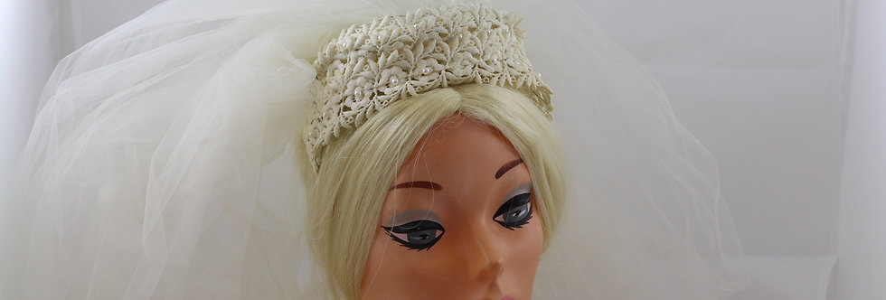 50s Wedding Lace Crown Hat with Pearls